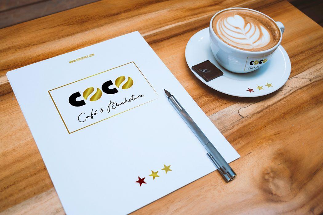 COCO · Papelería corporativa y taza