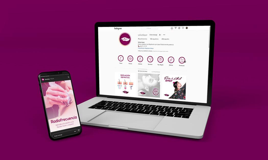 Velvet Láser · Laptop & Smartphone
